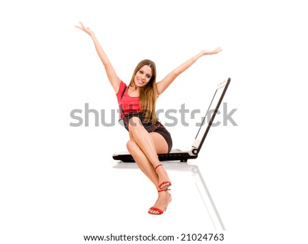 Technology concept by attractive woman siting on laptop. - stock photo