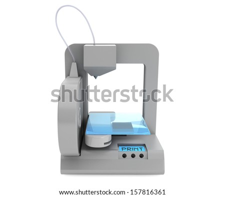 Technology concept. Modern Home 3d printer on a white background - stock photo