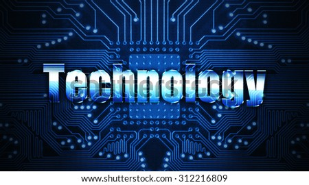 technology concept: the word written on the chip - stock photo