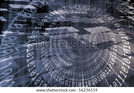 Technology Concept with Online Media Abstract Art - stock photo