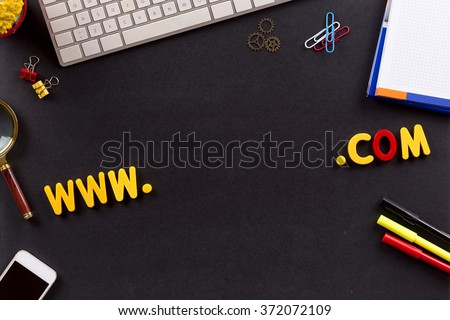 Technology Concept: WWW and COM domain name - stock photo