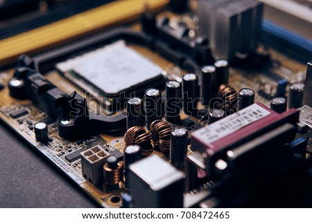 technology, CPU, processor, microchips, microprocessor, electronic components, repair of computer parts close-up