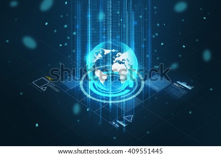 technology, cyberspace and virtual reality concept - hologram of earth globe and virtual screen projection over black background - stock photo