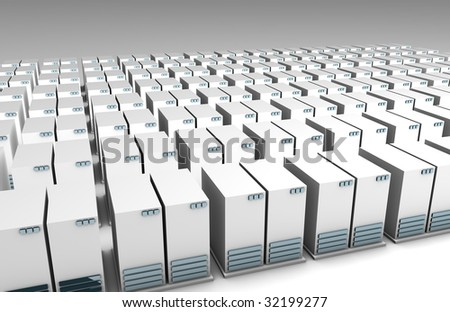 Technology Data Center with Rows of Servers - stock photo