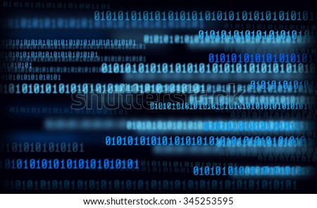 Technology digital background, glowing figures, binary code - stock photo