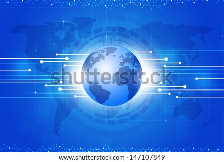 technology digital global business blue concept background  - stock photo