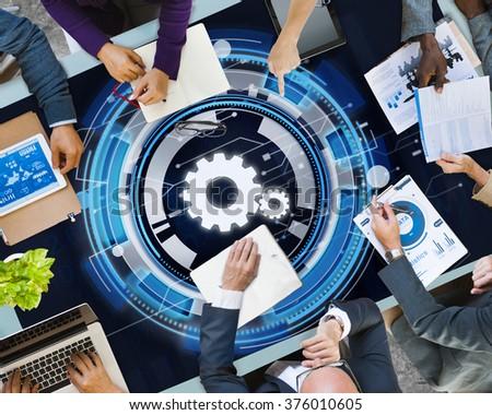 Technology Digital Network Cog Teamwork Concept - stock photo