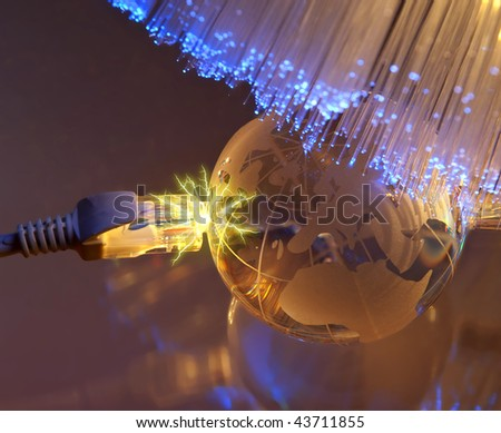 technology earth globe against fiber optic background more in my portfolio - stock photo