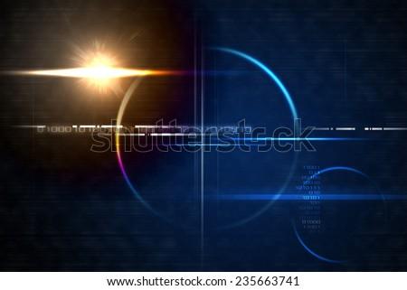 Technology futuristic backdrop with lensflare - stock photo