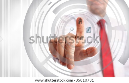 technology (graphic designs made by me, focus point on nearest part of hands) - stock photo