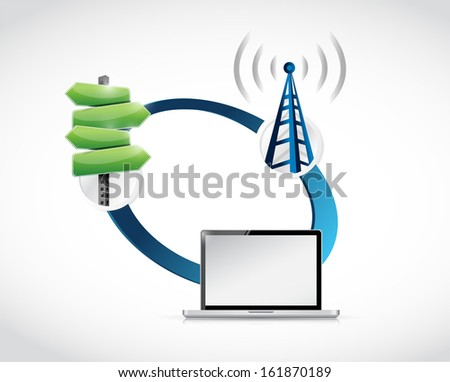 technology guide and connection. illustration design over white - stock photo