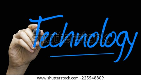 Technology hand writing with a blue mark on a transparent board - stock photo