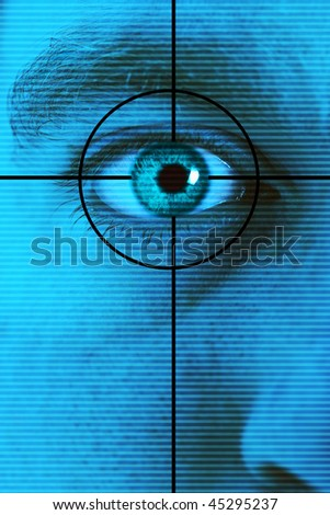 Technology high-tech background with targeted eye scan - stock photo