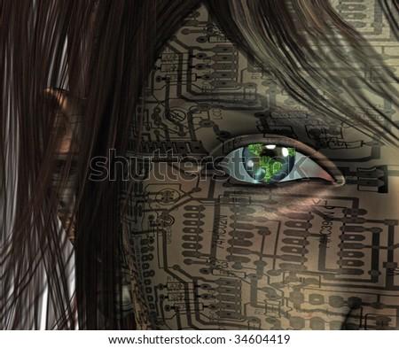 Technology Human with Earth Eye - stock photo