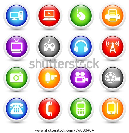 Technology Icon on Reflective Button Collection Original Illustration