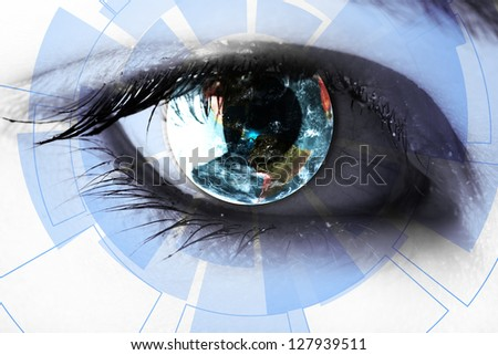 technology in the eye - technology concept - stock photo