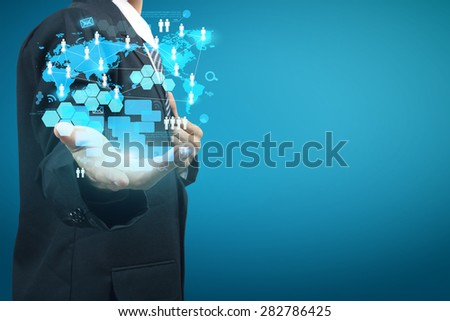 Technology in the hands of businessmen, With new digital modern computer show social network structure - stock photo