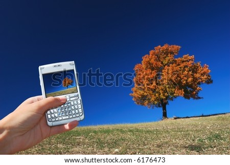 Technology in the middle of pure autumn nature