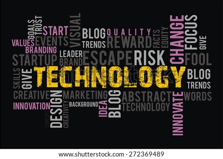 TECHNOLOGY in words cloud collage with black background color - stock photo