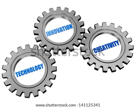 technology, innovation, creativity - business concept words in 3d silver grey gearwheels