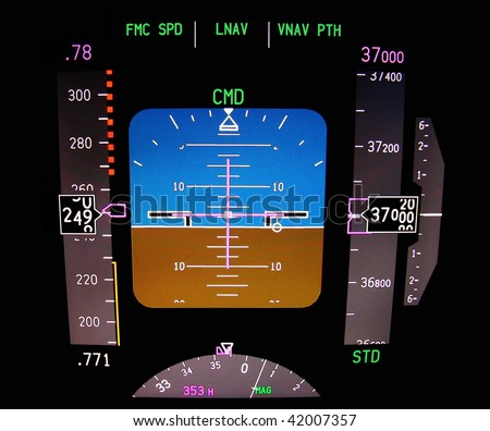 Technology: Instrument panel of a modern airliner in flight. - stock photo