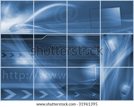 """Technology Internet and Future... (screen, mouse, """"http"""", arobase, binary numbers, and mobile phones) - stock photo"""