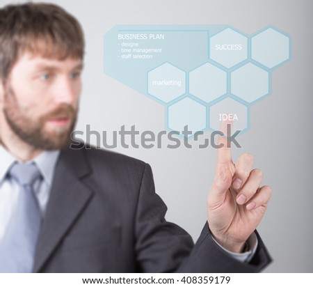 technology, internet and networking concept - businessman pressing idea button on virtual screens. Internet technologies in business - stock photo