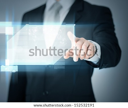 technology, internet, tv and news concept - man hands with virtual screens - stock photo