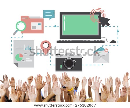 Technology Media Social Network Connection Concept - stock photo