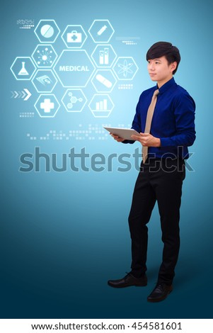 technology medical concept : the young Doctor with the smart idea - stock photo
