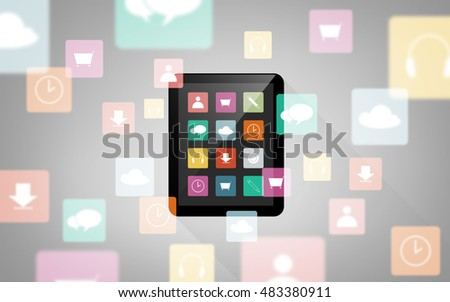 technology, multimedia and media concept - tablet pc computer with menu icons on screen over gray background