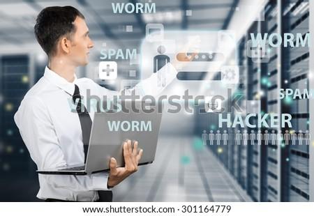 Technology, Network Server, Data. - stock photo