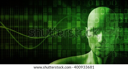 Technology Network with Futuristic Graph Chart Concept 3D Illustration - stock photo