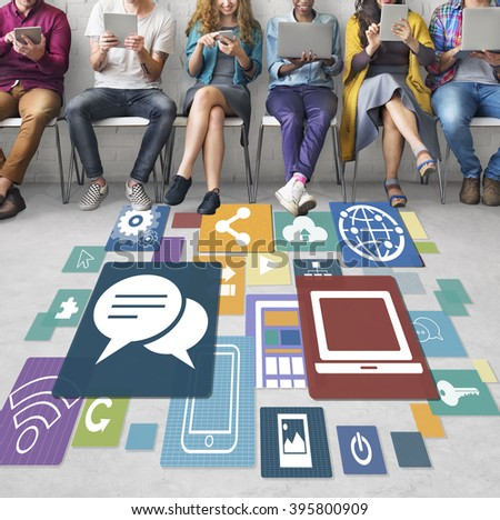 Technology Networking Global Communication Concept - stock photo