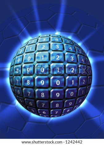 Technology numbered sphere - stock photo