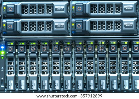 Technology of array disk storage for server in data center - stock photo
