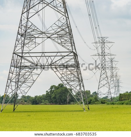 Technology of electric pole, power line and cables and Rice cultivation for the staple food in Asia.