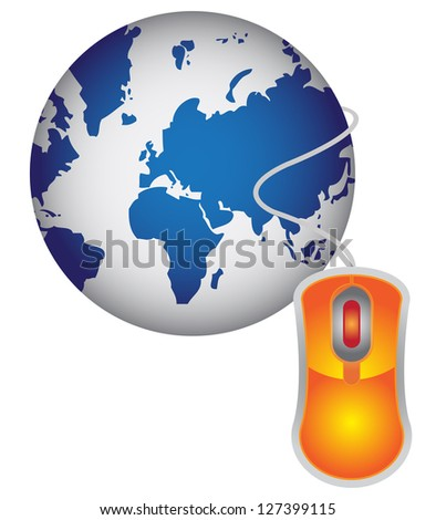 Technology or Internet and Online Concept Present By Blue Globe With Orange Mouse  Isolated on White Background - stock photo