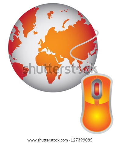 Technology or Internet and Online Concept Present By Orange Globe With Orange Mouse  Isolated on White Background - stock photo
