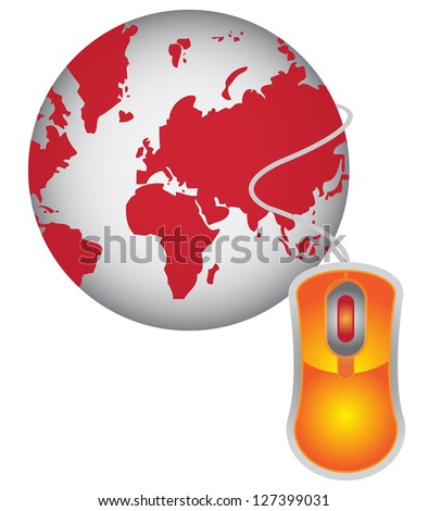 Technology or Internet and Online Concept Present By Red Globe With Orange Mouse  Isolated on White Background - stock photo