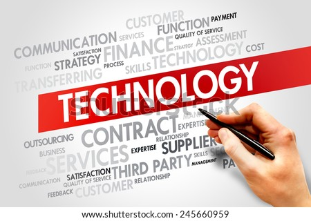 TECHNOLOGY related items words cloud, business concept - stock photo