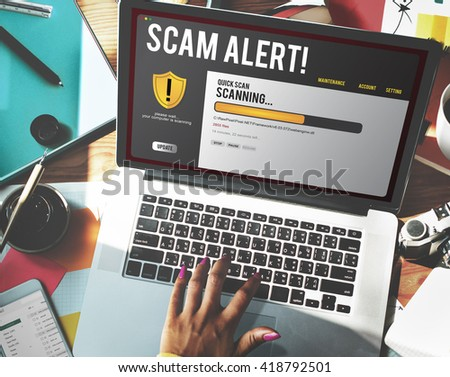 Technology Scam Computer Hacking Concept - stock photo