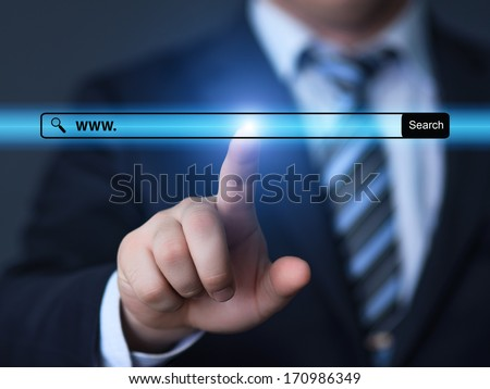 technology, searching system and internet concept - businessman hand pressing Search button - stock photo