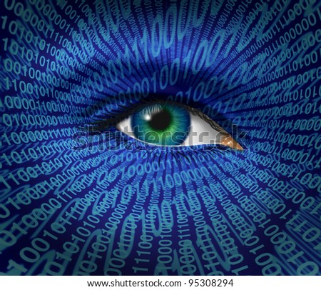 Technology security and Internet safety for privacy as a human eye and digital binary code for surveillance of hackers or hacking cyber criminals for prohibited access to web sites with firewalls. - stock photo