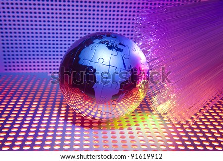 technology style against fiber optic background - stock photo