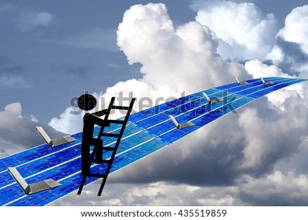 technology super highway security concept with graphic of man on ladder - stock photo