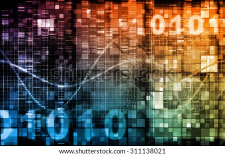Technology Theme or Themed Background with Binary Data - stock photo
