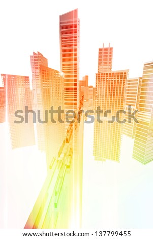 Technology transport to the city. Future concept. - stock photo