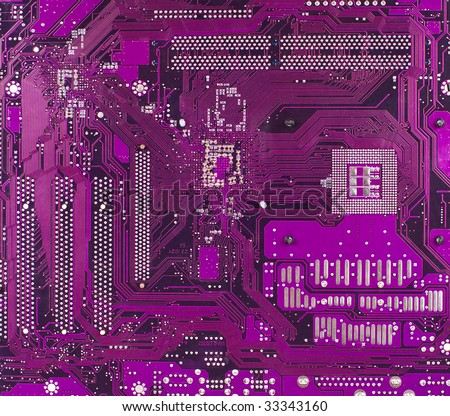 Technology: violet motherboard surface. No logos or brandnames