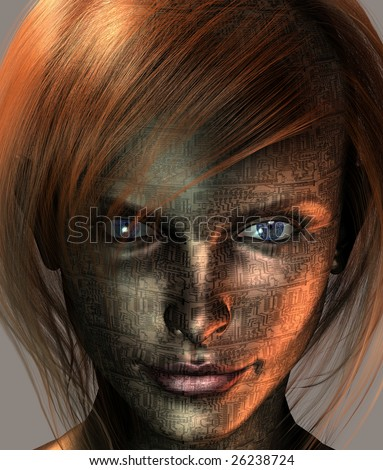 Technology Woman with Earth Eye - stock photo